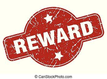 reward vintage stamp. reward sign