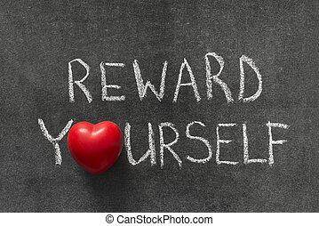 reward yourself phrase handwritten on blackboard with heart ...