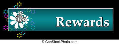Rewards text written over dark colorful background.