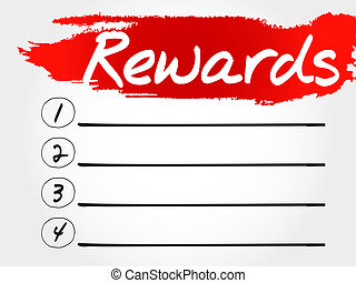 Rewards blank list, business concept