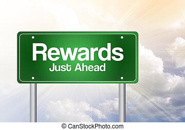 Rewards Green Road Sign, business concept - Rewards Green ...