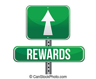 rewards highway sign illustration design over a white...