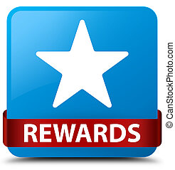 Rewards (star icon) cyan blue square button red ribbon in middle