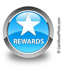Rewards (star icon) glossy cyan blue round button