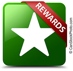 Rewards (star icon) green square button red ribbon in corner