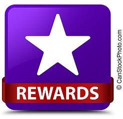 Rewards (star icon) purple square button red ribbon in middle