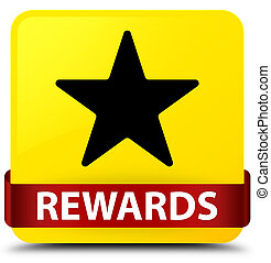Rewards (star icon) yellow square button red ribbon in middle