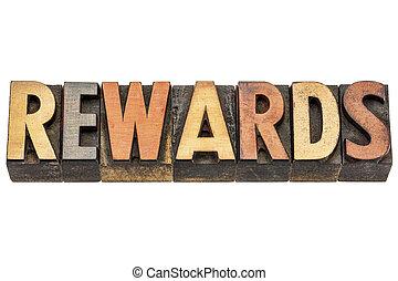 rewards word in wood type