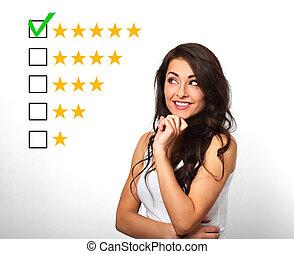 rewiew., mulher, estrela, avaliação, negócio, classificação, isolado, amarela, aumento, confiante, cinco, avaliação, fundo, online, branca, votando, melhor, feliz