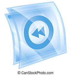 Rewind Back icon blue, isolated on white background.