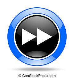rewind blue and black web glossy round icon
