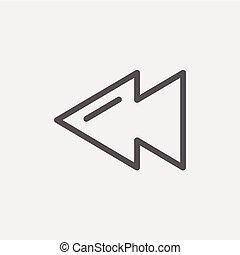 Rewind button thin line icon