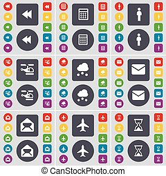 Rewind, Calculator, Silhouette, Helicopter, Cloud, Message, Airplane, Hourglass icon symbol. A large set of flat, colored buttons for your design. Vector