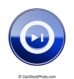 Rewind Forward icon glossy blue, isolated on white background