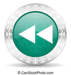 rewind green icon, christmas button