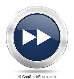 rewind icon, dark blue round metallic internet button, web and mobile app illustration