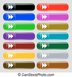rewind  icon sign. Set from fourteen multi-colored glass buttons with place for text. Vector