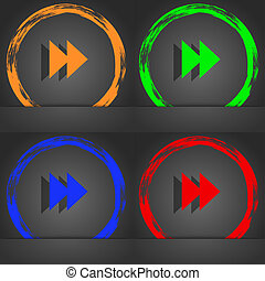 rewind icon symbol. Fashionable modern style. In the orange, green, blue, green design.