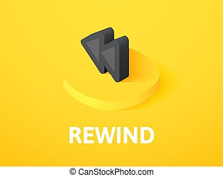 Rewind isometric icon, isolated on color background