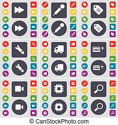 Rewind, Microphone, Tag, Rocket, Truck, Cassette, Film camera, Processor, Magnifying glass icon symbol. A large set of flat, colored buttons for your design. Vector