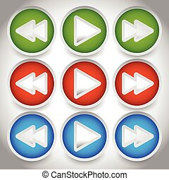 Rewind, play, fast forward navigation buttons. editable vector graphics.