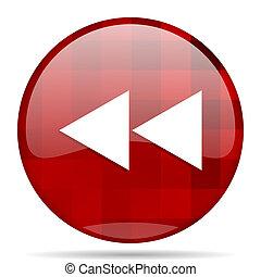 rewind red round circle glossy modern design web icon