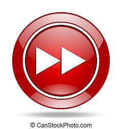 rewind red web glossy round icon
