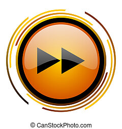 rewind round design orange glossy web icon