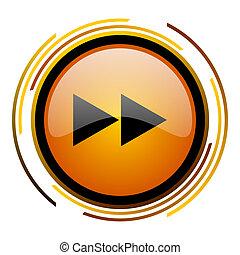 rewind round design orange glossy web icon