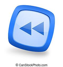 rewind square glossy blue web design icon