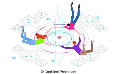 rewizja, faktyczny, technology., twórczy, towarzystwo, pojęcia, grafika, ilustracja, zaręczony, wektor, połączenie, świat handlowy
