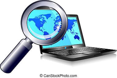 rewizja, laptop, znaleźć, internet