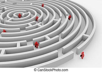 rewizja, ludzie, solution., teamwork., maze., okrągły