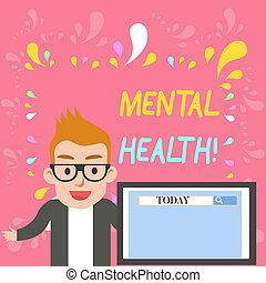 rewizja, pojęcie, słowo, mentalny, handlowy, poziom, tekst, ekran, albo, wellbeing, pisanie, psychologiczny, stan, report., mówiący, demonstrowanie, health., prezentacja, instrument, samiec, hydromonitor