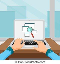 rewizja, surfing, internet, pojęcie, online, osoba, laptop