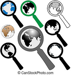 rewizja, znaleźć, szkło, ziemia, świat, powiększający, ikona