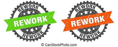 rework grunge stamp set. rework band sign