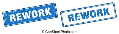 rework square stamp. rework grunge sign set