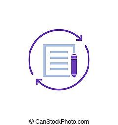 rewrite, edit icon on white, eps 10 file, easy to edit