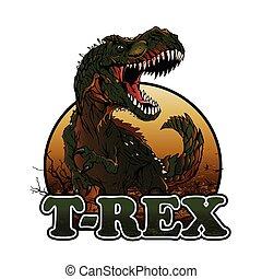 rex, agressive, t, ilustración