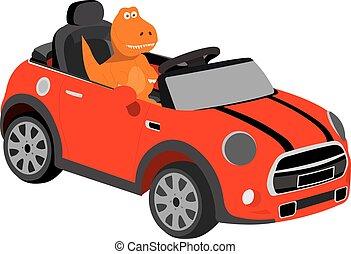 rex, coche, dinosaurio