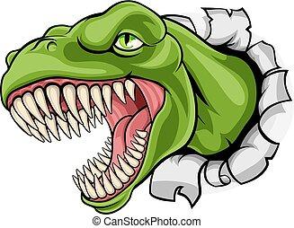 rex, dinosaurierer, durch, t, hintergrund, zerreißen