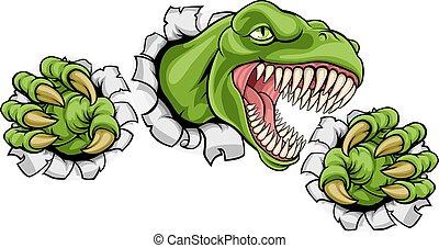 rex, dinosaurierer, t, hintergrund, loch, kratzen