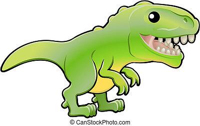 rex, ilustracja, dinozaur, sprytny, tyrannosaurus