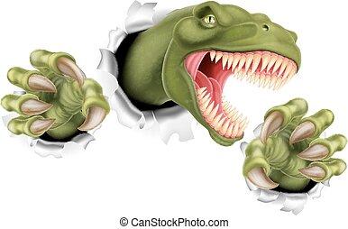 rex, rasgado, t, garras, dinosaurio
