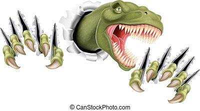rex, t, durch, dinosaurierer, druchbrechen
