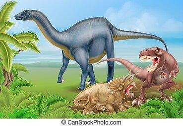 rex, triceratops, diplodocus, t