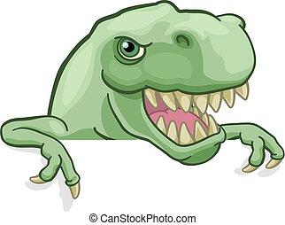 rex, wijzende, meldingsbord, dinosaurus, het gluren, t, spotprent