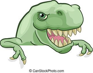 rex, zeigen, zeichen, dinosaurierer, guckend, t, karikatur
