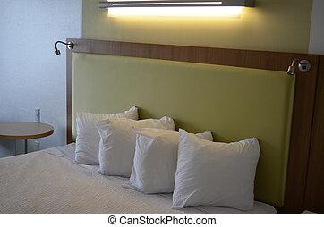 rey, almohadas, cama, colchón